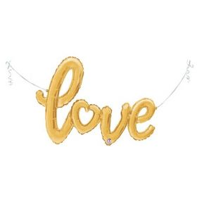 47 inch Betallic Gold Script Love Shape Foil Mylar Balloon - AIR FILL - Pkg