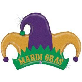42 inch Betallic Mardi Gras Jester Hat Shape Foil Balloon - Flat