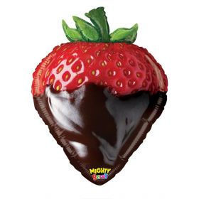 26 inch Betallic Chocolate Strawberry Shape Foil Balloon - flat