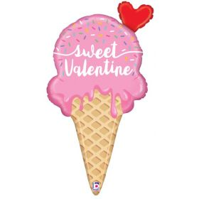 35 inch Betallic Sweet Valentine Ice Cream Cone Shape Foil Balloon - flat