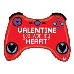 34 inch Betallic Valentine Gamer Shape Foil Balloon - flat