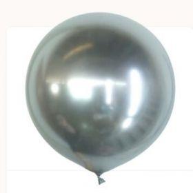 36 inch Kalisan Silver Mirror Chrome Latex Balloons - 2ct