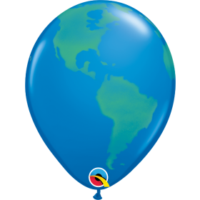 11 inch Qualatex Earth Globe Latex Balloons - 50 count