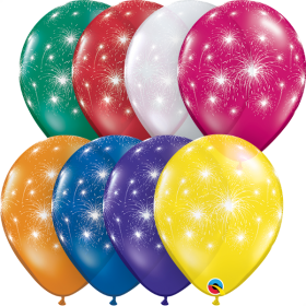 11 inch Qualatex Fireworks All-Around Jewel Assorted Latex Balloons - 50 count