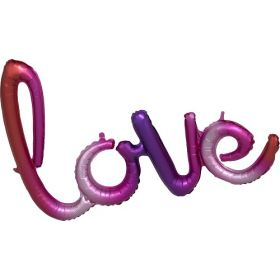 31 inch Anagram Ombre Love Phrase Shape Foil Mylar Balloon - AIR FILL - Pkg