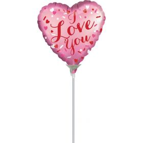 9 inch Anagram Satin I Love You Heart Foil Balloon - flat