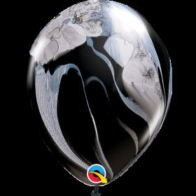 Qualatex Black/White Super Agate 11 inch Latex Balloon - 100 count