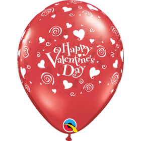 11 inch Qualatex Valentine's Swirling Hearts Around Latex Balloons- 50 count