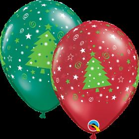 11 inch Qualatex Christmas Trees Stars & Swirls Latex Balloon - 50 count