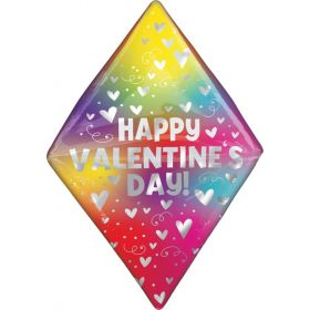 25 inch Anagram Happy Valentine's Day Rainbow Heart Gem Anglez Foil Balloon - Pkg