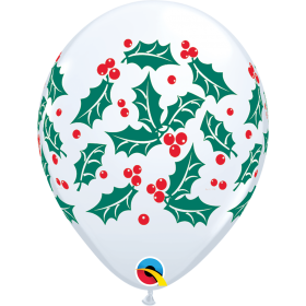 11 inch Qualatex Holly & Berries Latex Balloon - 50 count