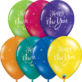Qualatex 11 inch Happy New Year Sparkle Fantasy Assorted Latex Balloons - 50 count