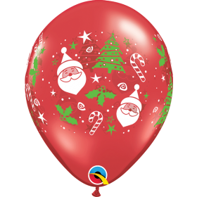 11 inch Qualatex Santa and Christmas Tree Latex Balloon - 50 count