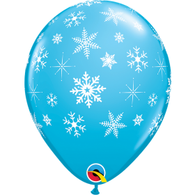 11 inch Qualatex Snowflakes & Sparkles Around Latex Balloon - 50 count