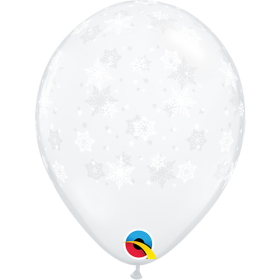 11 inch Qualatex Diamond Clear Snowflakes Around Latex Balloon - 50 count