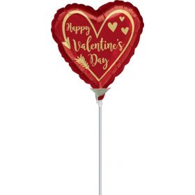 9 inch Anagram Happy Valentine's Day Arrow Heart Foil Balloon - flat