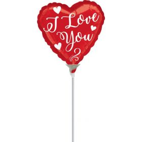 9 inch Anagram White Script I Love You Heart Foil Balloon - flat