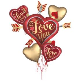 Anagram Bouquet Satin Love You Arrows Foil Balloon - Pkg