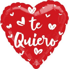 18 inch Anagram Te Quiero Fresh Hearts Heart Foil Balloon - flat