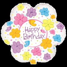18 inch Foil Mylar Flower Shape Happy Birthday Flowers & Butterflies Balloon - Flat