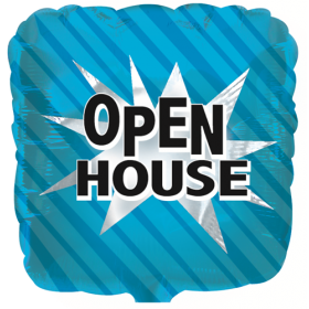 "18"" Foil Mylar Blue Square Open House Balloon"