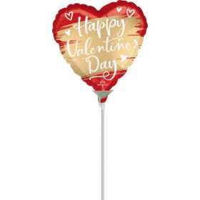9 inch Anagram Happy Valentine's Day Gold Swoosh Heart Foil Balloon - flat