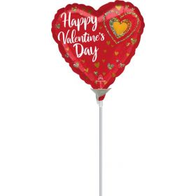9 inch Anagram Happy Valentine's Day Glitter Hearts Foil Balloon - flat