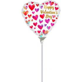 9 inch Anagram Happy Valentine's Day Painterly Hearts Foil Balloon - flat