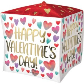 15 inch Anagram Happy Valentine's Day Painted Hearts Cubez - Pkg