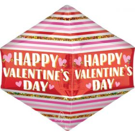 21 inch Anagram Happy Valentine's Day Stripes Glitter Anglez Foil Balloon - Pkg