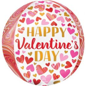 16 inch Anagram Happy Valentine's Day Marbling Orbz Foil Balloon - Pkg
