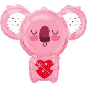 28 inch Anagram Pink Koala Bear Shape Foil Balloon - flat