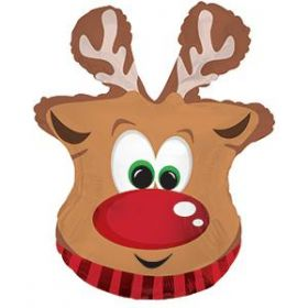 26 inch CTI Red Nosed Reindeer Head Shape Foil Balloon