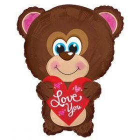 22 inch I Love You Blue Eyes Bear Shape Foil Mylar Balloon - flat