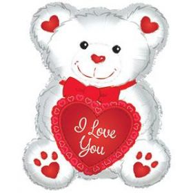 20 inch CTI I Love You Red and White Teddy Bear Shape Foil Mylar Balloon - flat