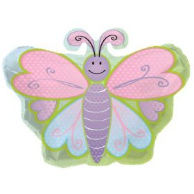 22 inch Butterfly Shape with Polka Dots Foil Mylar Circle Balloon