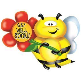 34 inch Get Well Bee Shape Foil Mylar Balloon