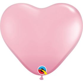 11 inch Qualatex Pink Heart Shape Latex Balloons - 100 count