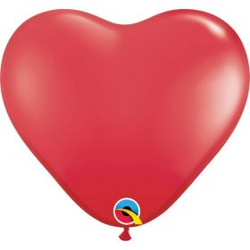 6 inch Qualatex Red Heart Shape Latex Balloons - 100 count