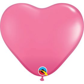 11 inch Qualatex Rose Heart Shape Latex Balloons - 100 count
