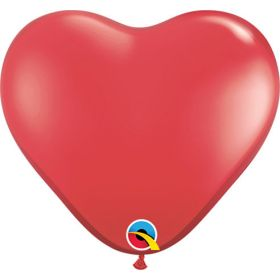 11 inch Qualatex Ruby Red Heart Shape Latex Balloons - 100 count
