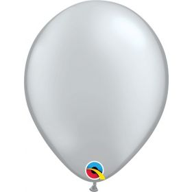 11 inch Qualatex Silver Latex Balloons - 100 count