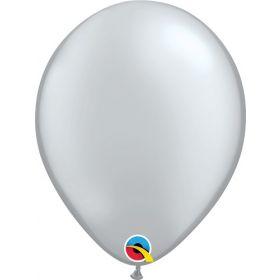 5 inch Qualatex Metallic Silver Latex Balloons - 100 count