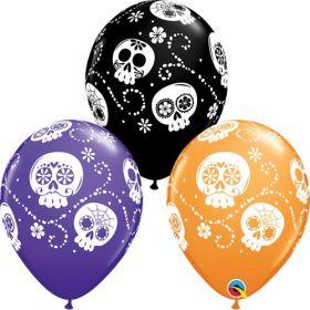 11 inch Qualatex Halloween Sugar Skulls Latex - 50 count