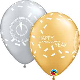 Qualatex 11 inch Happy New Year Confetti Countdown Special Assorted Latex Balloons - 50 count