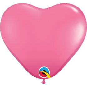 15 inch Qualatex Rose Heart Shape Latex Balloons - 50 count