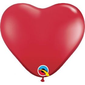 15 inch Qualatex Ruby Red Heart Shape Latex Balloons - 50 count