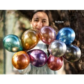 5 inch Kalisan Assorted Colors Mirror Chrome Latex Balloons - 50ct