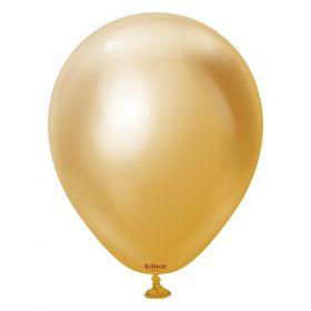 5 inch Kalisan Gold Mirror Chrome Latex Balloons - 100ct