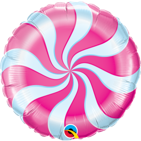 Qualatex 18 inch Foil Mylar Magenta Candy Swirl Round Balloon